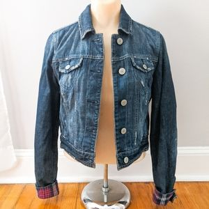 American Eagle Flannel Lined Denim Jacket Women's
